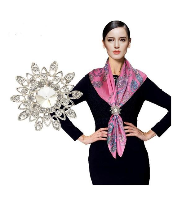 CHUYUN Women's Elegant Three Ring Rhinestone Metallic Scarves Clip Fashionable Scarves Ring Chiffon Buckle - C4183L60NL7