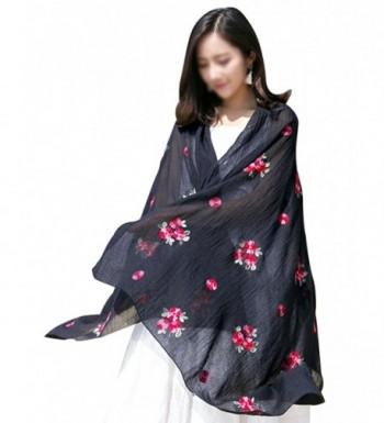 Women Exotic Style Floral Embroidery Silk Scarf Cotton Linen Pashmina Shawl Wrap Scarves - Black - CW184WIQKRT
