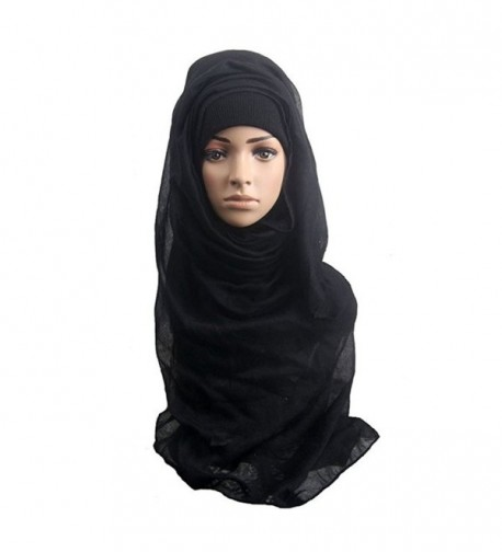 Kloud City Women Solid Cotton Head Scarf Long Muffler Head Cover - Black - CX12MMB0ZV5