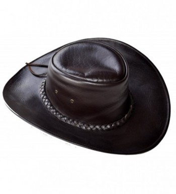 C&D Western Style Handmade Leather Hat Brown Large - CW12O58K8C9