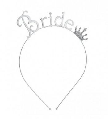Lux Accessories Rhinestone Crown Bride Bridal Bachelorette Headband - Silver - CC12NV8B5KH