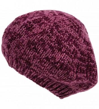 Nirvanna Designs Lurex Beret Hat with Fleece- Pink/Gold - CU11H5W2I1R