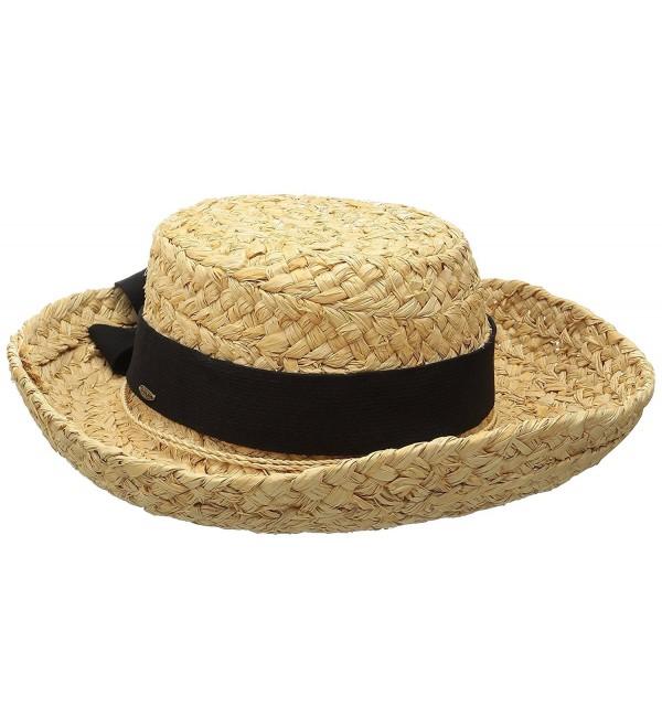 Scala Women's Raffia Hat with Herringbone Bow - Natural - CV117XQ8BP7