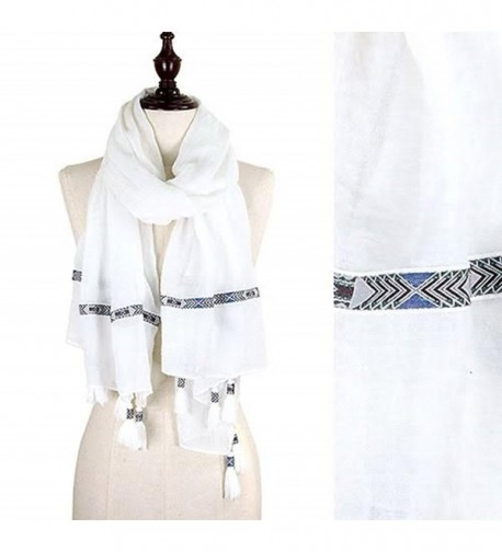 StylesILove Tribal Ribbon Tassel Wrap Scarf- 3 Colors - White - CR12CJM0Q6L