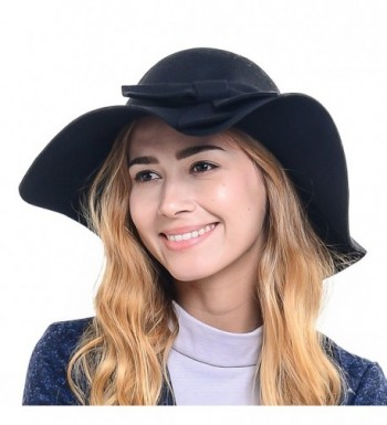 Wimdream Women 100% Wool Wide Brim Cloche Fedora Floppy hat Cap Z0012 - Black - CN12ODBRCCU