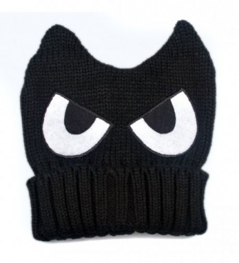 LOCOMO Cute Big Eye Embroidery Devil Horn Cat Ear Knit Beanie Hat FFH223BLK - Black - CN11PAV5TOR