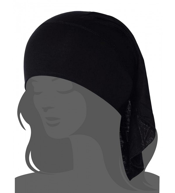 I VVEEL Women's Scarf Pre Tied Chemo Hat Beanie Turban Headwear for Cancer Patients - Black - C712N7YX5O7
