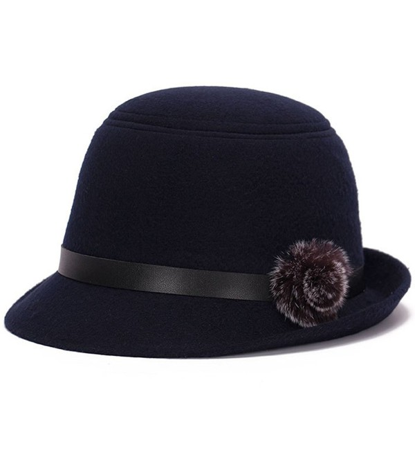 YING LAN Girls Women Vintage Style Women Lady Imitation Wool Felt Party Princess Hat Cap With Hairball - Navy - CH186XSGWT6