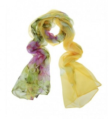 ChikaMika Silk Scarves for Women Floral Wrap and Shawls for Women Yellow Fashion Scarves - CH123GUG85X