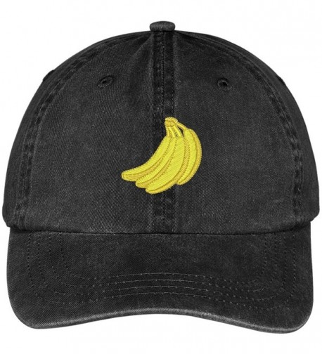 Trendy Apparel Shop Bananas Fruit Embroidered Pigment Dyed Washed Cotton Baseball Cap - Black - CH12G5ZGJXR