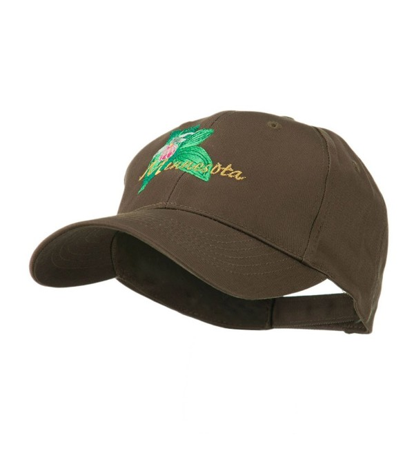 USA State Flower Minnesota Embroidery Cap - Brown - C911FITO3WL