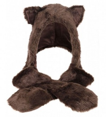 Winter Warm Plush Faux Fur Animal Paws Hat Hoods Gloves Scarf - Bear - CA185W6KOY0