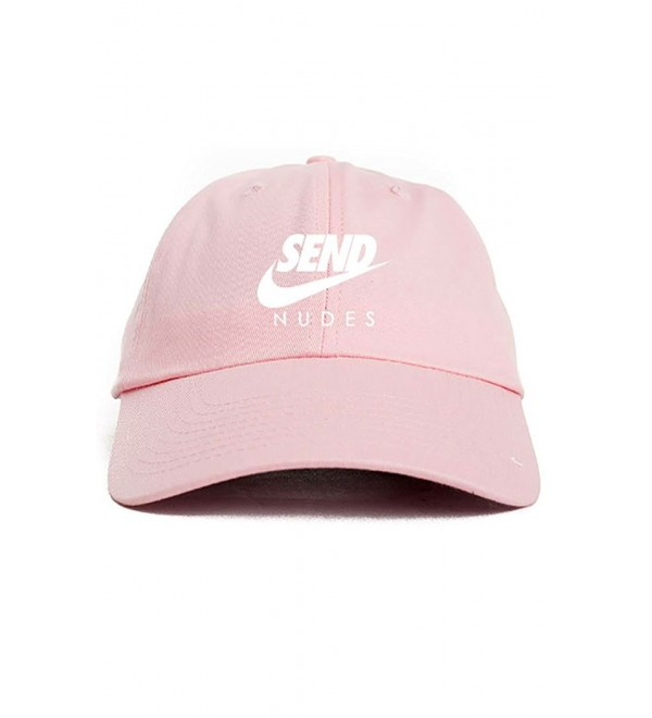 Send Nudes Unstructured Baseball Dad Hat Cap - Pink - C412O7H0MPN