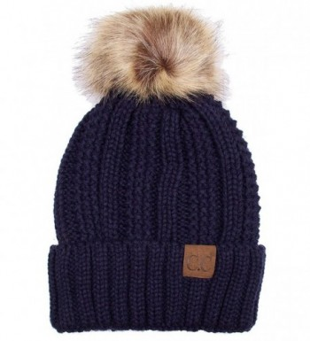 ScarvesMe Exclusive CC Knitted Hat with Fuzzy Lining with Pom Pom - Navy - CP12K7GMB6J