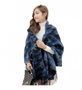 Unisex Korean Autumn Winter Camouflage Knit Tassel Scarf Shawl Oversized Wrap - Blue - CL11T8PQ5IL