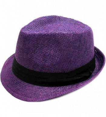 Livingston Unisex Summer Straw Structured Fedora Hat w/Cloth Band - Purple - CD189YRTMZO