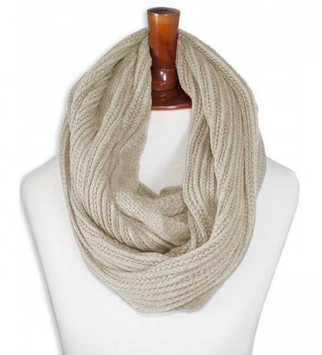 Triple9shop Knitted Winter Warm Infinity Scarf Multi-colors - Type B Beige - CQ12NH9BTZM