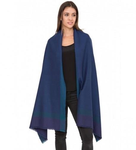 Herringbone Handwoven Textured Merino Wool Pashmina Scarf - Blue - C712MZHS8LX