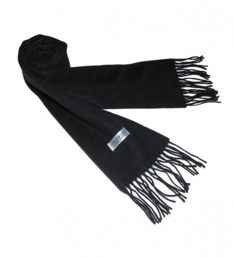 100% 2Ply Pure Cashmere Premium Handmade Classic Womens Neck Scarf Solid Black - C811R4OHMZ3
