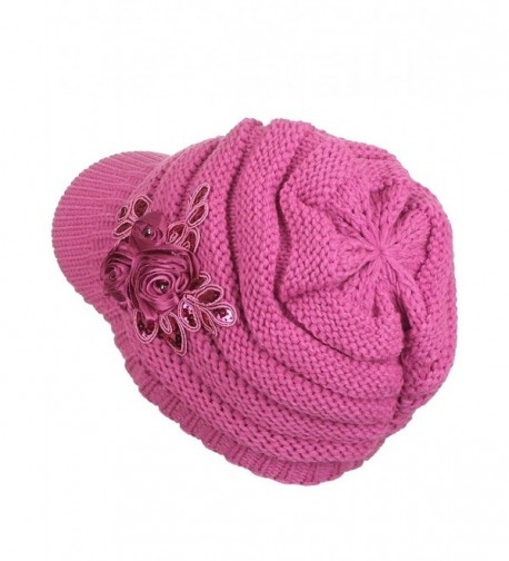 Womens Stripe Slouchy Beanie Fuchsia in Women's Skullies & Beanies