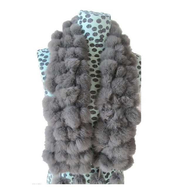 Deamyth Women Winter Rabbit Fur Scarf Ball Velvet Scarves Neck Warmer Collar Scarf - Gray - CA12O4YA3ML