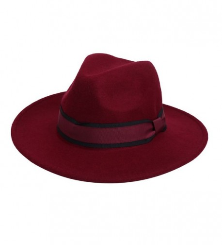 100% Wool Fedora Hat Vintage Bowler Hats Wide Brim Hat for Women - Wine Red - C31866W3QR0