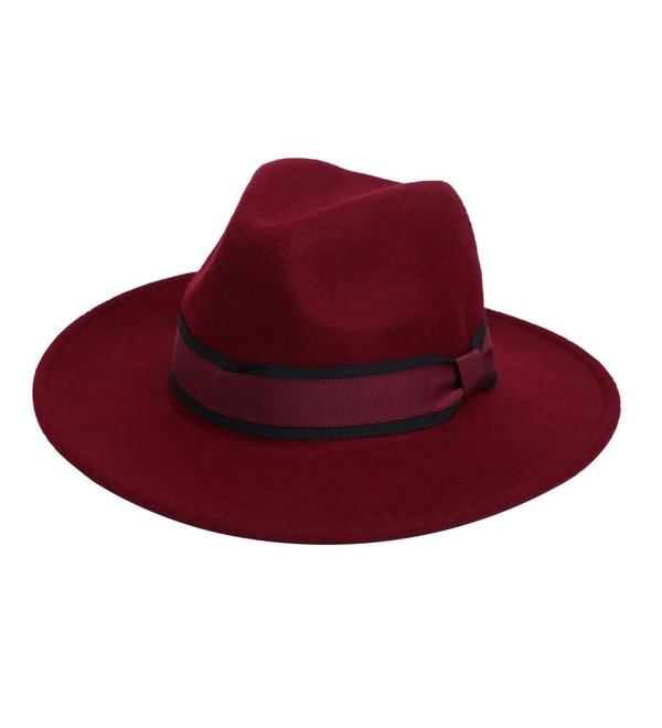 100% Wool Fedora Hat Vintage Bowler Hats Wide Brim Hat for Women - Wine Red - C31866W3QR0