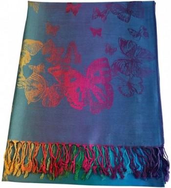 Butterfly Design Shawl Pashmina Scarf Wrap Stole Throw Pashminas CJ Apparel NEW - Turquoise - CE12O1IL42J