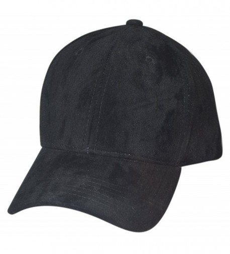 Faux Suede Baseball Caps (Structured) - Black - CC12MY7VDM4