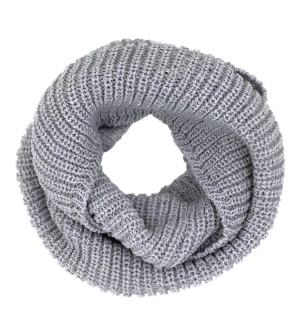 Tapp Collections Thick Knitted Warm Infinity Scarf - Light Grey - C1127RZZYVR
