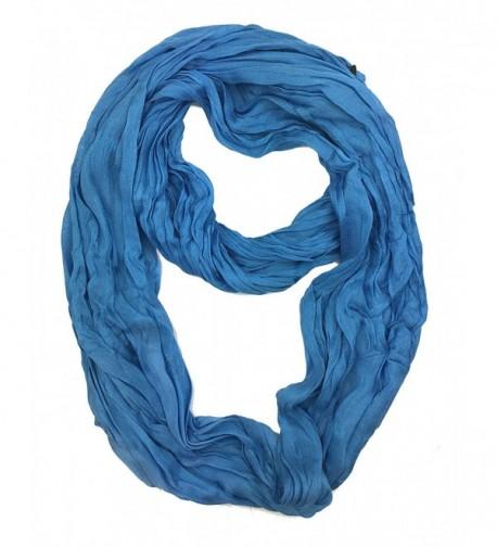 Plum Feathers Light Weight Silky Scrunch Infinity Loop Silk Cotton Scarf - Blue - CN187ICE2MN