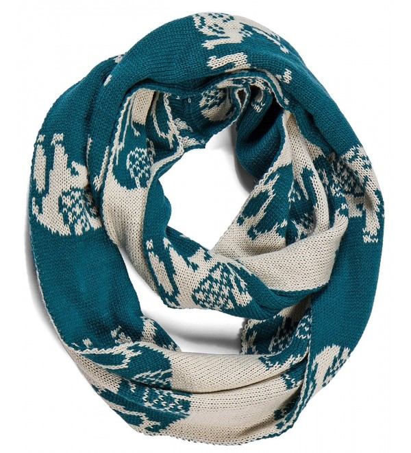Aoloshow Winter Knitted Infinity Scarf Elephant Scarves Neck Warmer - B Teal Blue - CN126G93MRD