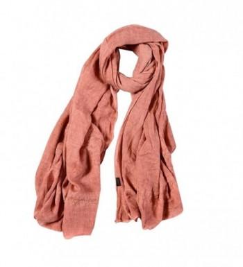 Monique Women Lace Cotton Linen Long Scarf Winter Outdoor Travel Scarves Wraps Shawls - Pink - CO186UEM8SU