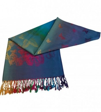 Turquoise Butterfly Pashmina CJ Apparel in Wraps & Pashminas