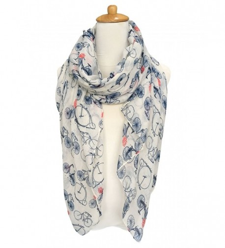 GERINLY Fashion Lightweight Scarves: Women's Bicycle Print Shawl Scarf - White Style - CX17Z54NS2C