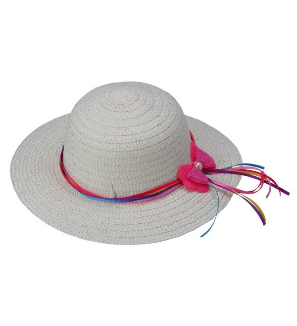 YueLian Girls Wide Brim Sun Hats Summer Holiday Beach - White - CW11MNFKN3L