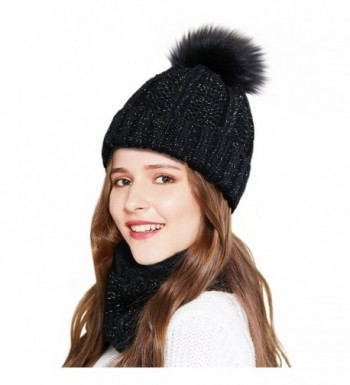 Beanies Women Winter Warm Knit Hats Ski Cap Infinity Scarf Set - Black - C1186TU2GDS
