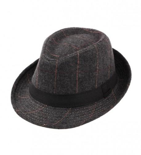 Felt Trilby Hat Men Gentleman Autumn Winter Plaid Fedora Jazz Hats Multicolor - Black - C9185WXO5YH