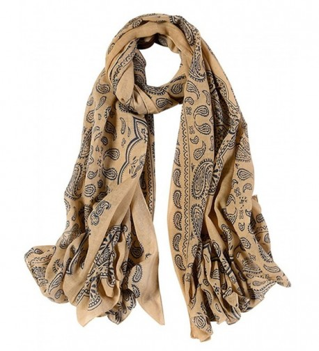 GERINLY Fashion Paisley Scarves Womens Evening Shawl Party Wrap - Khaki - C4188WINXHM
