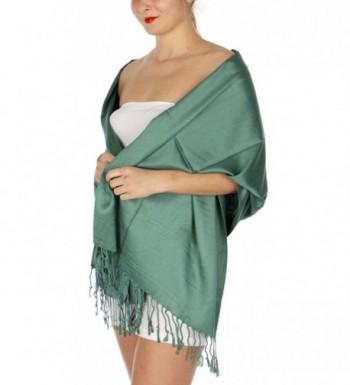 SERENITA Large Soft Silky High Density Pashmina Shawl Wrap Scarf - Forest Green - CP12ODWAQA3