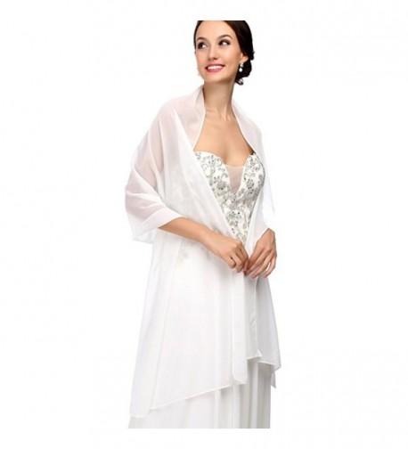 RLDRESS Womens Chiffon Bridal Evening Soft Wrap Scarf Shawl - Ivory - CA186DZ23DY