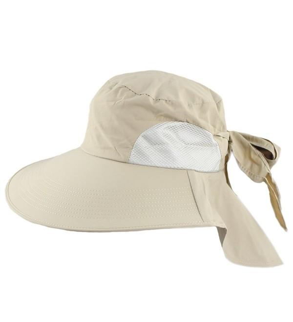 Women's UV Sun Protect Summer Beach Wide Large Big Brim Hat Visor Side Flower - Khaki - C811LS2CKLN