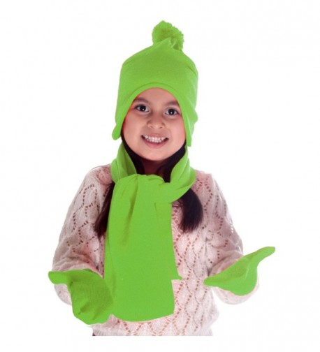 Simplicity Unisex Kid's Winter Knit Fleece Hat- Scarf- and Glove Set - Lime - CH11P0V8XMX