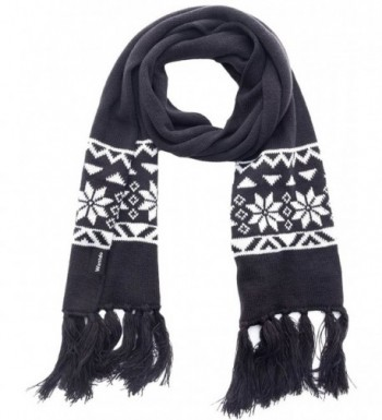 Wantdo Unisex Knitted Scarf Ski Winter Scarf Crochet Snowflake Pattern with Tassel - Anthracite/white - C212MZ1M0S8