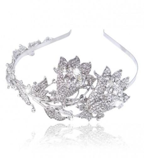 EVER FAITH Wedding Leaf 2 Flower Bud Headband Clear Austrian Crystal - CP11JM6Y961