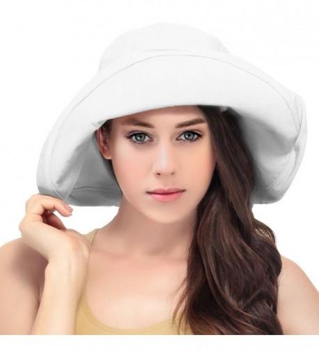 LRKC Women's Summer Cotton Bucket Beach Hat Foldable Sun Hat - White - CG17YQEQYQU