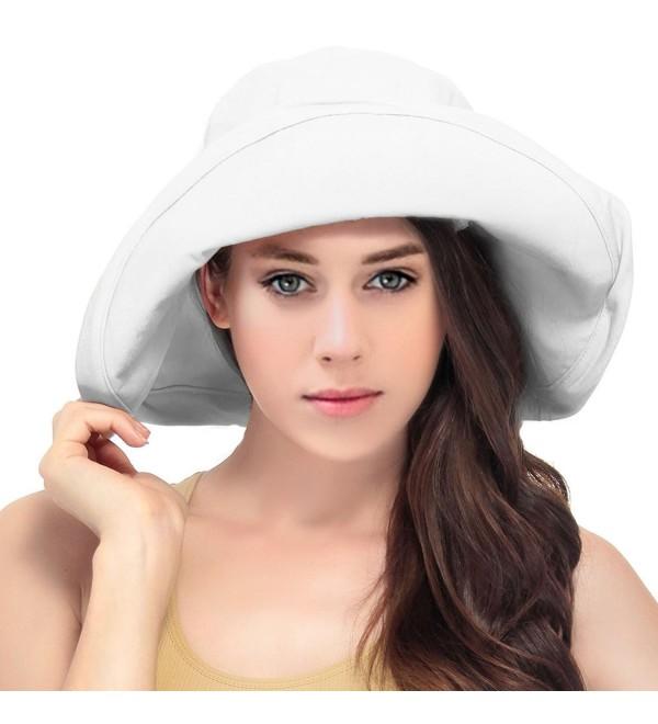 ecbe1682e Women's Summer Cotton Bucket Beach Hat Foldable Sun Hat White CG17YQEQYQU
