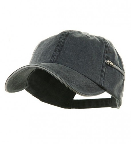 Low Profile Washed Side Zipper Pocket Cap - Navy White - CO113HASN2X