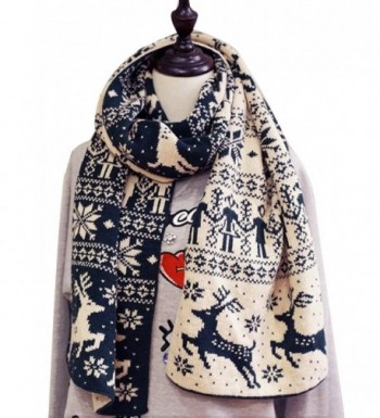 Rebecca Women Knitting Scarf Christmas Reindeer Snow Flake Shawl Blanket - Navy Blue - CJ188CTGTR3