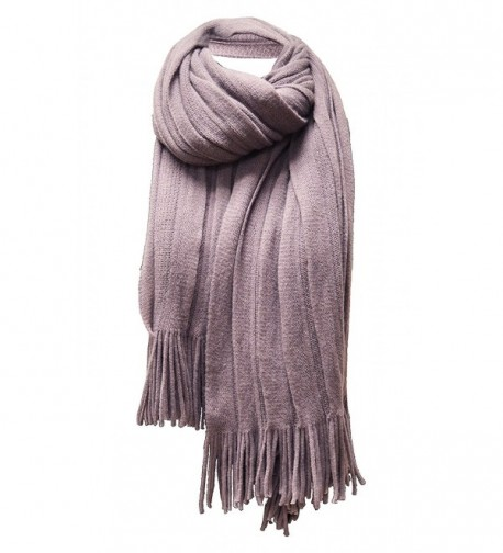 Women's 'Scarf' Soft Warm Winter Knit Scarf Tassels Soft Shawl - Smokey Purple - C6185XHIQSL